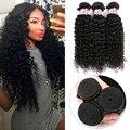 7А Малайзии Kinky Вьющихся Волос Малайзии Девы Волос 3 Связки Малайзии Вьющихся Волос SilkyLong Вьющиеся Переплетения Человеческих Волос