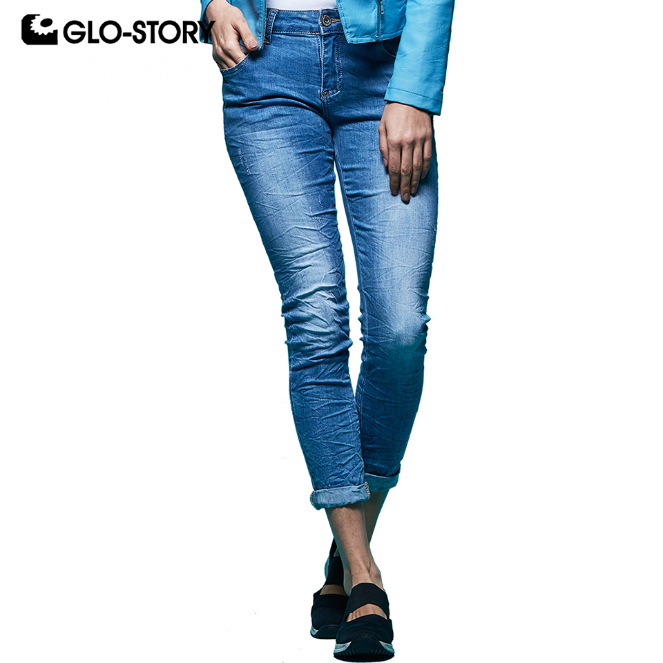 GLO-STORY Women's Full Length Stretch Skinny   Jeans   Woman Back Fur Pocket with Diamond Fashion   Jeans   For Slim Femme WNK-5876