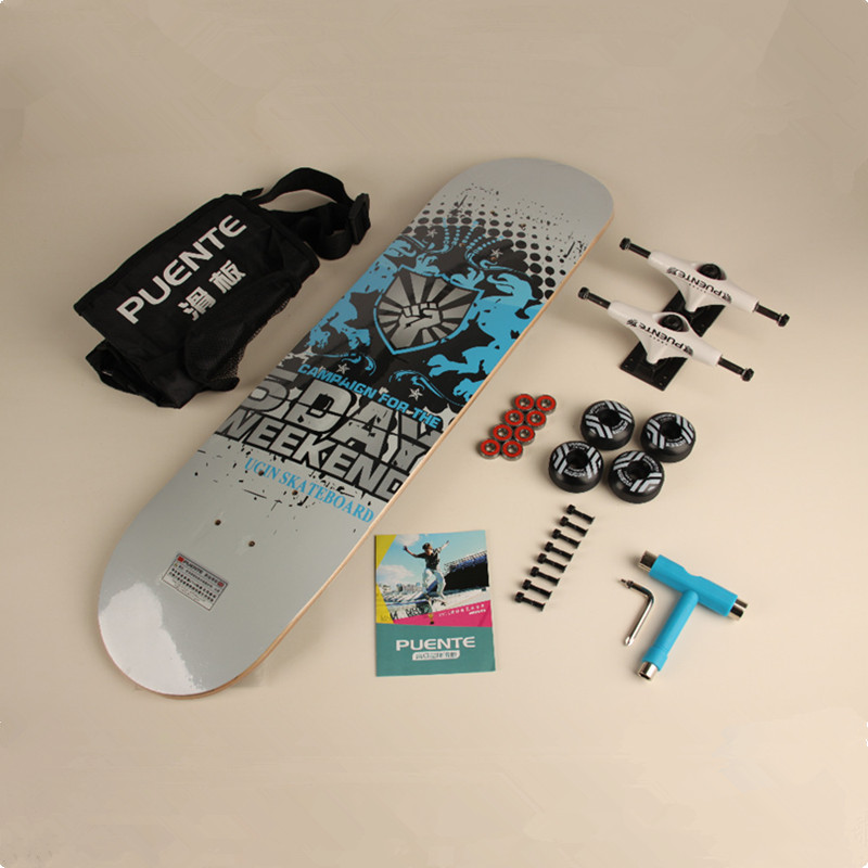 By DHL 1Set Complete Skateboard Skate Deck Trucks Wheels & Bearings Plus Riser Pad Hardware Set & Installing Tool