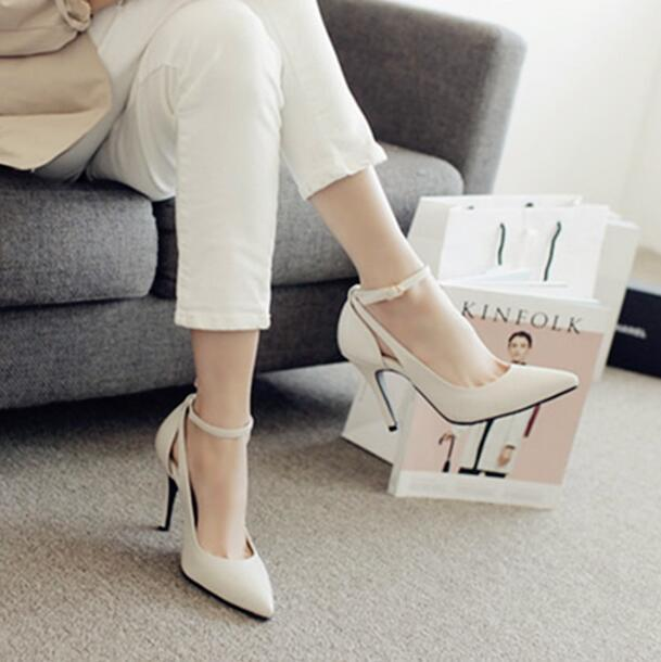 Manmitu-Free Shipping Occident Vogue Single Shoes Women High Heels Office Lady Fashion Sexy Pointed Toe Buckle Pumps Big size