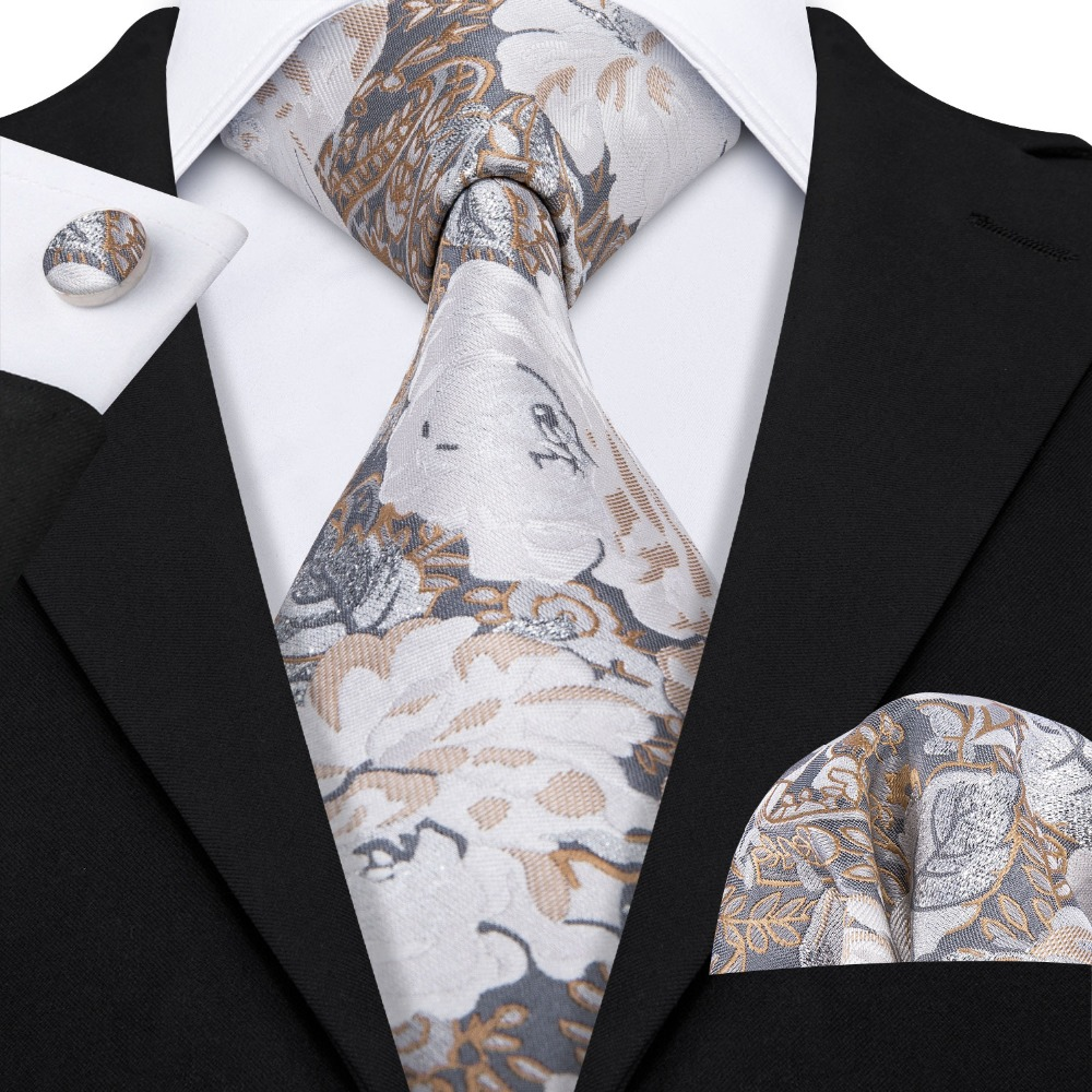 New Luxury Floral Pattern 100% Silk Tie Set Barry.Wang New Fashion Necktie Handkerchief Dropshipping Tie For Men Wedding LS-5072