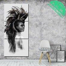 дешево!  3 Шт. Девушка под павлиньими перьями Wall Art HD Печатные Холст Картины с Картинками Украшения для Лучший!