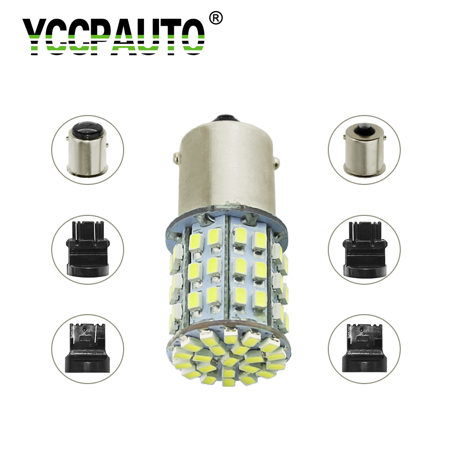 YCCPAUTO 1156 1157 <font><b>T20</b></font> T25 <font><b>LED</b></font> 1206 64SMD Auto Brake Light <font><b>Rear</b></font> Lamp Reverse Turn Signal <font><b>Bulb</b></font> BA15S BAY15D 7440 7443 3156 3157 image