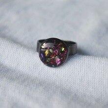 Multicolour Treasure Island Mineral Black Resizable Copper Wedding Rings For Women Jewelry Boho Vintage Ladies Bohemian Handmade