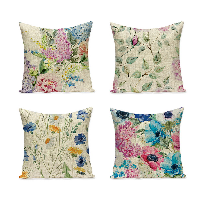 Urijk Flower Print Pillow Cushion Cover Plant Home Decor cojines decorativos para sofa Vintage Modern Floral Cusion Cover 2018