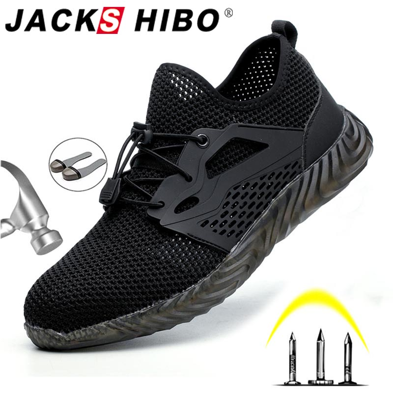 JACKSHIBO Safety Shoes Boots For Men Male Summer Breathable Work Shoes Steel Toe Cap Male Construction Safety Work Sneakers