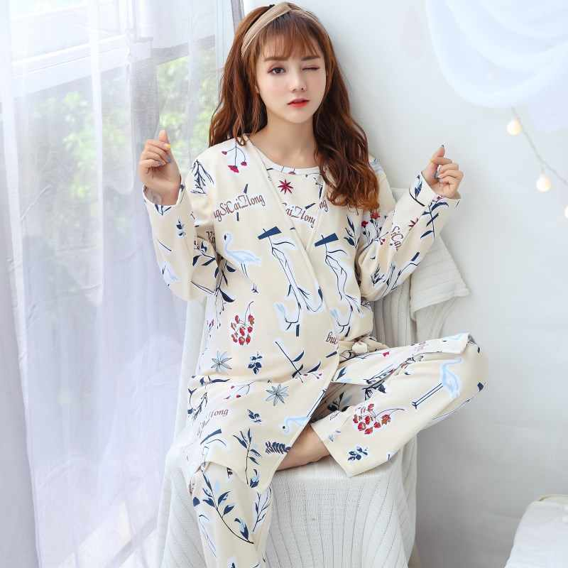 3pcs Cotton Fashion Maternity Sleepwear Pregnant Women Pajamas Nursing Breast Clothing for Feeding Nursing Clothes Nightgown Set