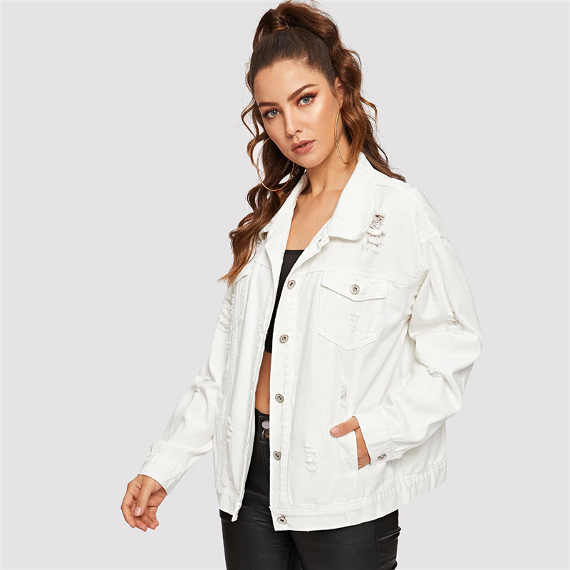 COLROVIE Ripped Drop Shoulder Women Denim Jackets Black White Oversize Purple Casual Female Jacket Coat Chic Jacket for Girls 12