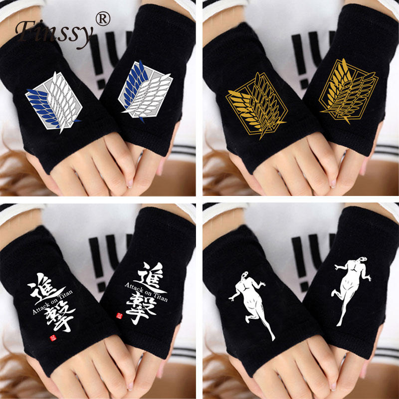 Anime Attack on Titan Finger Cotton Knitting Wrist Gloves Mitten Lovers shingeki no kyojin Accessories Cosplay Fingerless