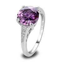 Onlylove Fashion Style Awesome Amethyst & White Topaz  Silver Ring Size 6 7 8 9 10 12 13 Jewelry Women Wholesale Free Shipping