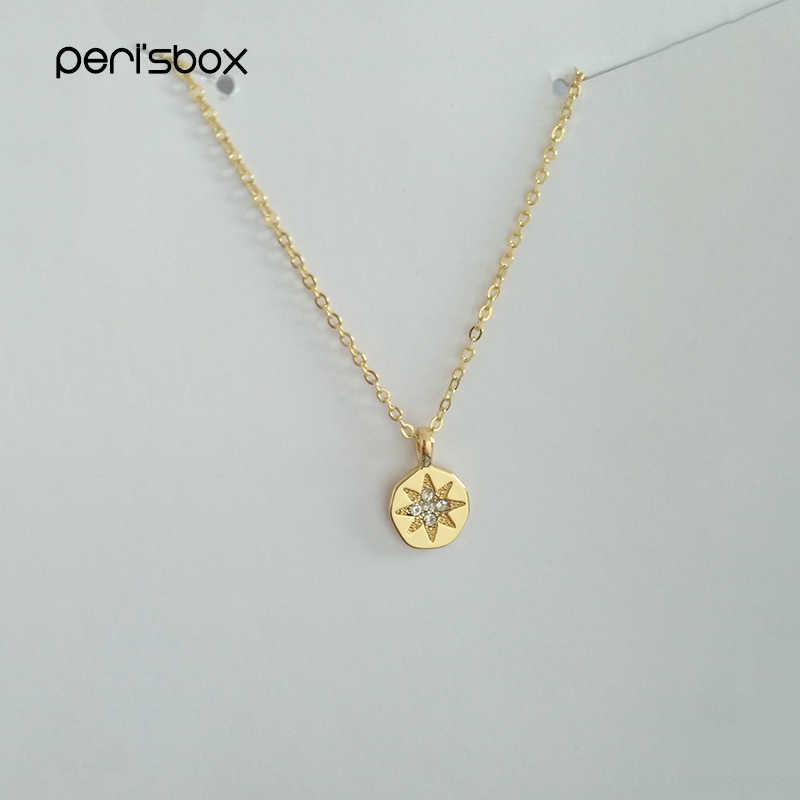 Peri'sBox Delicate Crystal Starburst Coin Choker Necklace for Women Dainty Layered Chokers Boho Small CZ Disc Pendant Necklaces