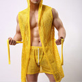 Hombres bata de verano albornoz atractiva de la casa Del Hombre gay masculina ropa de noche salón pijama lindo ver a través de net fishnet de la ropa pura tops
