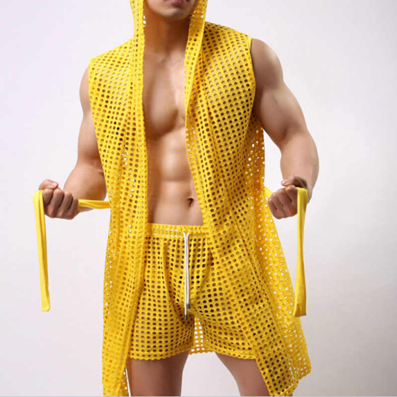 af868285ae6f Robe Men Summer Sexy Fashion Bathrobe Man Home Gay Male Sleepwear Cute See  Through Net Sheer