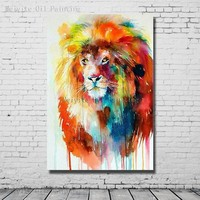 Colorful Lion Handpainted Oil Painting Abstract Wall Art Painting On Canvas Wall Pictures For Home Decor no Framed Art