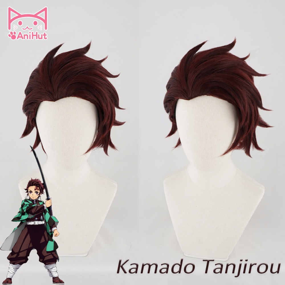 AniHut Kamado Tanjirou Wig Kimetsu No Yaiba Cosplay 28cm Dark Red Hair Synthetic Heat Resistant Hair Kamado Tanjirou Cosplay