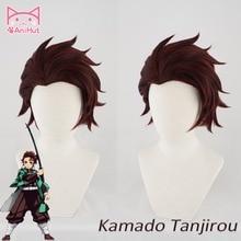 【Anihut】kamado Tanjirou Pruik Kimetsu Geen Yaiba Demon Slayer Cosplay Haar Synthetische Hittebestendige Haar Kamado Tanjirou Cosplay