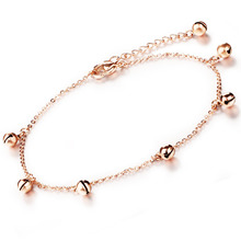 Stainless Steel Anklet Small Bells Pendant Rose Gold Plated Women Bracelet Fashion Jewelry Vintage Cute Lovely Dangle