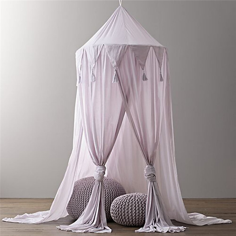 Hanging Kid Baby Bedding Round Dome Bed Decoration Canopy Bedcover Mosquito Net Curtain Chiffon Three-open Tassel Bed Romantic Baby Bedding Mother & Kids