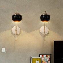 Nordic Art Black Glass Ball Restaurant LED Wall Lamp Gold Metal Body Corridor Aisle Lights Kitchen Fixtures Lighting