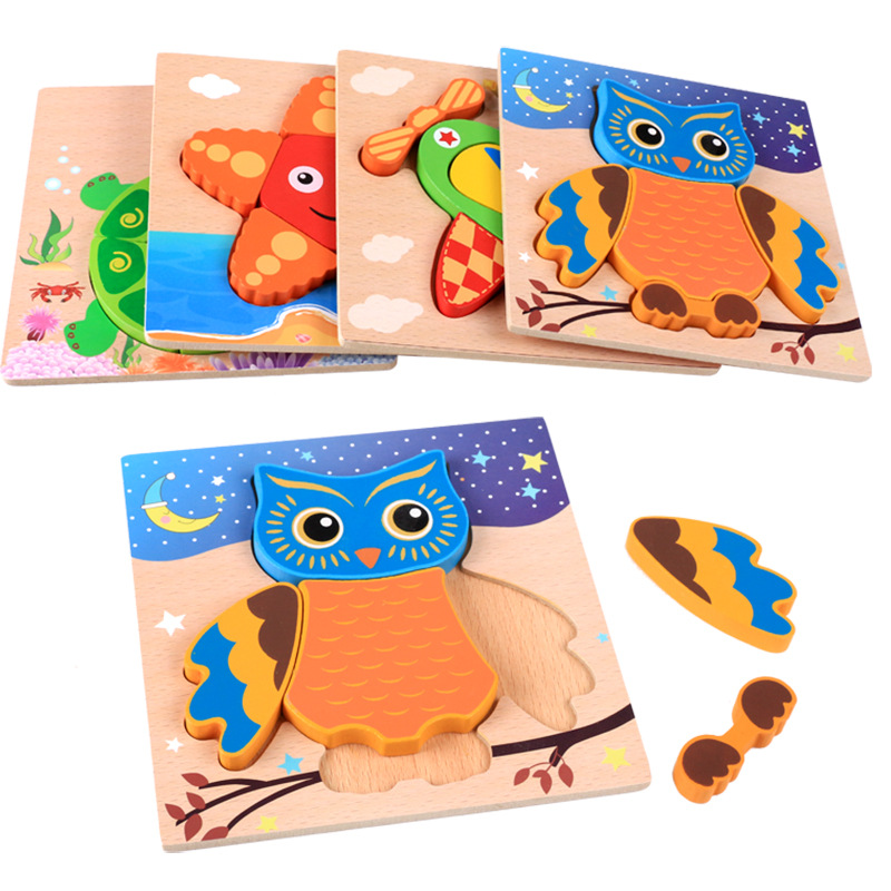 Montessori 3D Animal Thickened Puzzles Wooden Toy For Children Cognition Puzzle Birthday Gifts Good For Kids  DIY Cartoon Jigsaw