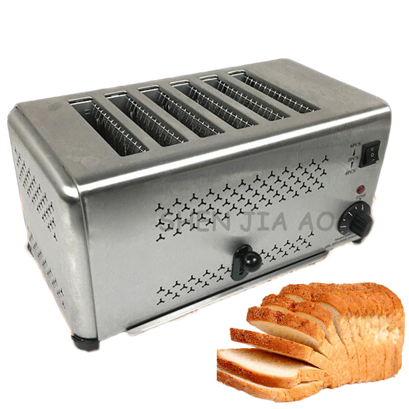 Home stainless steel 4/6 slices toaster oven electric breakfast toaster bread machine 220V 2pcs lot new style pancake machine electric bread toaster fy 2213