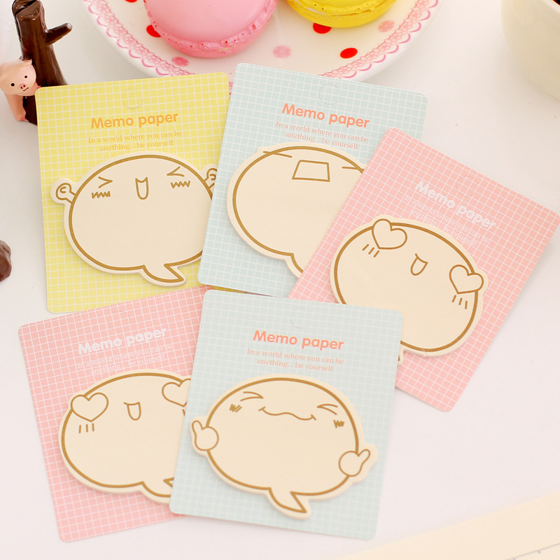 5PCS Sticky memo Creative cartoon Emoticon N Times Stickers Cute Post Office Message Board Notes Office School Stationery