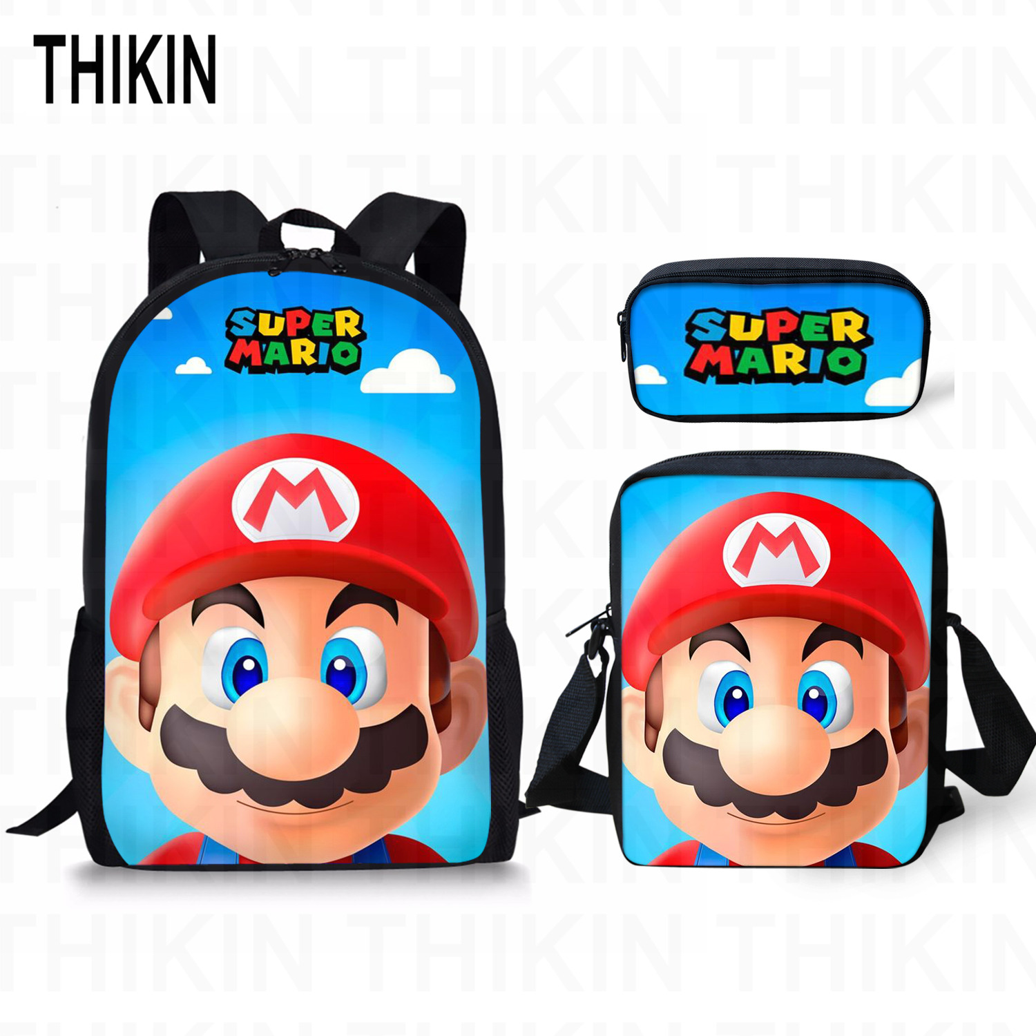 THIKIN Super Mario Run Print Kids Boys Girls School Backpacks Children Shoulder Bag Cartoon Game Schoolbags for Teenage Mochila in School Bags from Luggage Bags