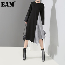 [EAM] 2018 New Autumn Winter Round Neck Long Sleeve Black Plaid Split Joint Loose Irregular Loose Dress Women Fashion Tide JH381