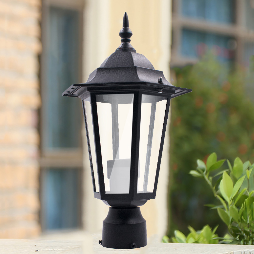 Us 17 66 26 Off Post Pole Light Outdoor Garden Patio Driveway Yard Lantern Lamp Fixture Black Statue Led Path In Lawn