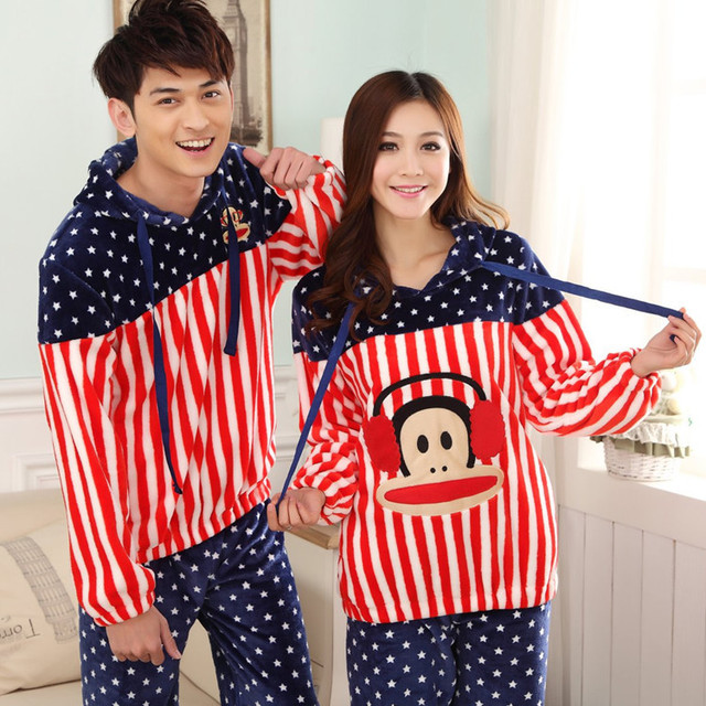 a52003c14 Thick Flannel Couples Matching Pajamas Pijama Men Lovely Coral Fleece  Pyjamas Women