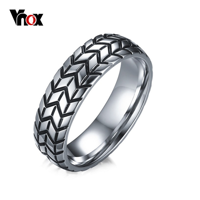 Vnox Tire Tread Style Grooved Ring Men Jewelry Rock Punk Vintage Stainless Steel