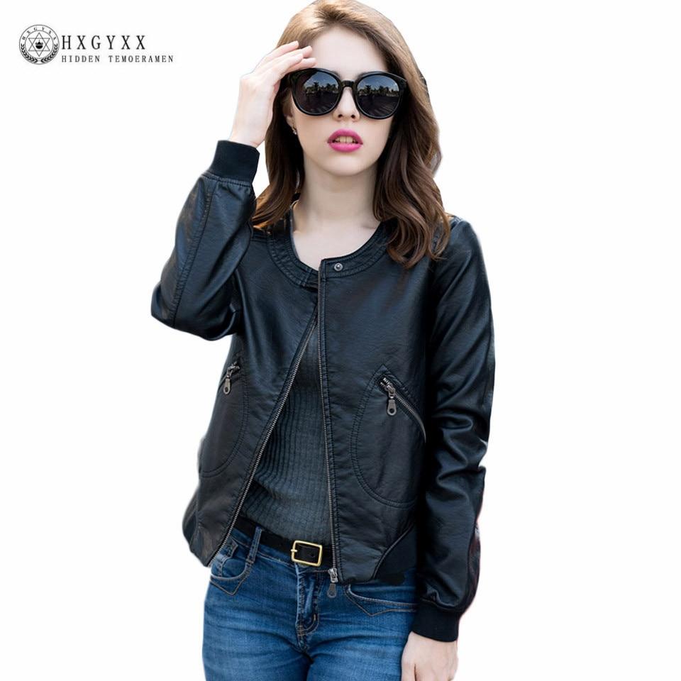 Leather jacket xl size - 5xl Plus Size Pu Leather Jacket Women Zipper Top Quality 2017 Autumn Long Sleeve O