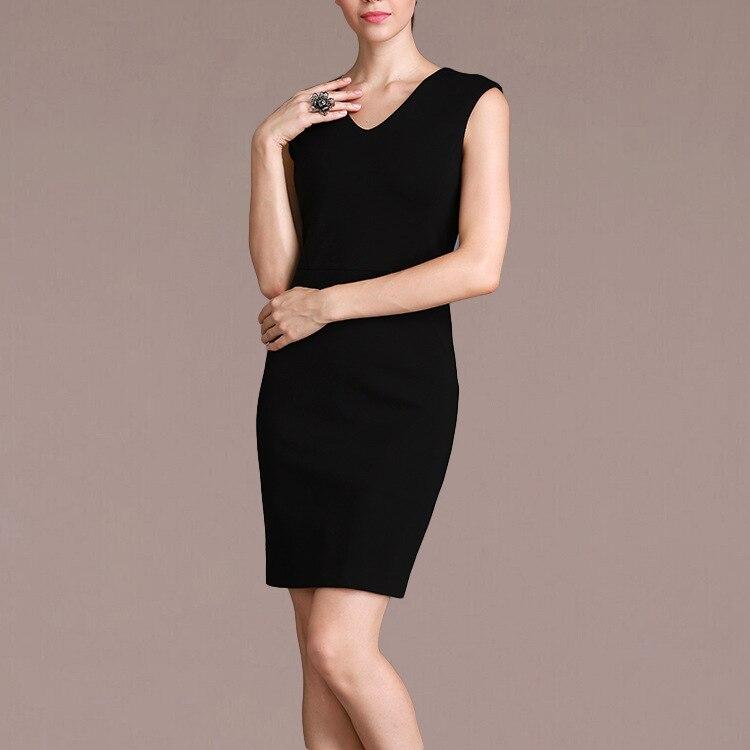 Femme Ol printemps v-cou sans manches genou longueur robes crayon femme été surdimensionné solide couverture mince robe dame mi robes
