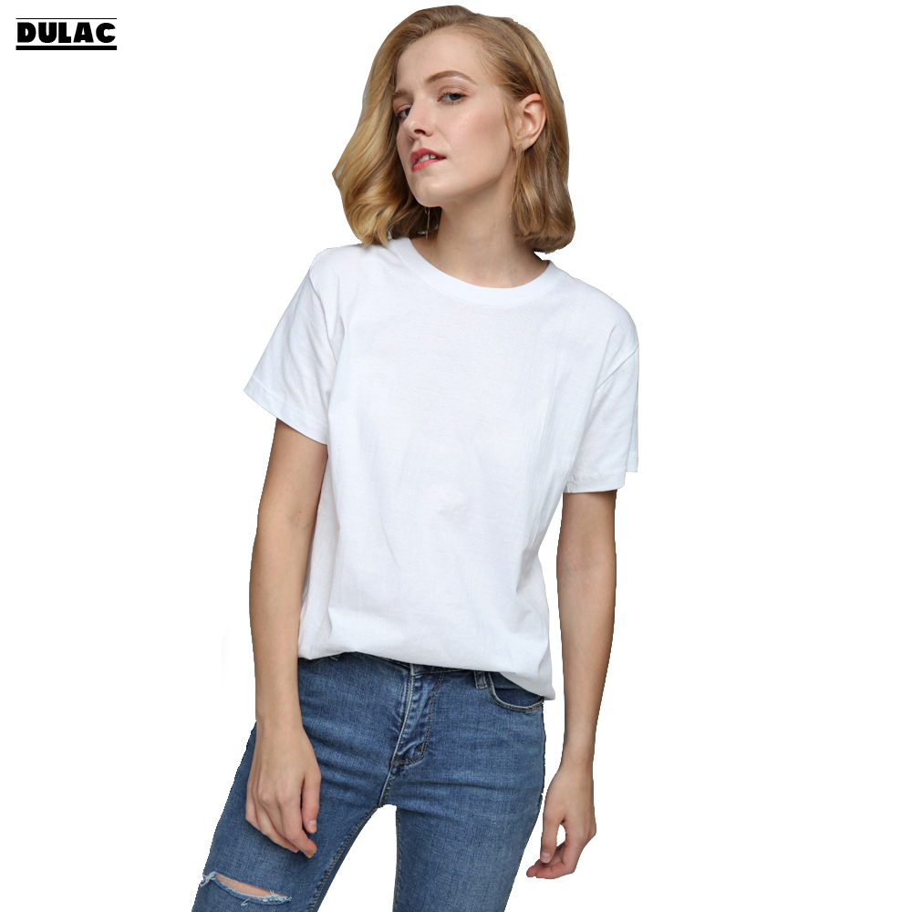 Summer Fashion Sheer Solid Women White Black Cotton T Shirt Basic T Shirt Casual O -1158