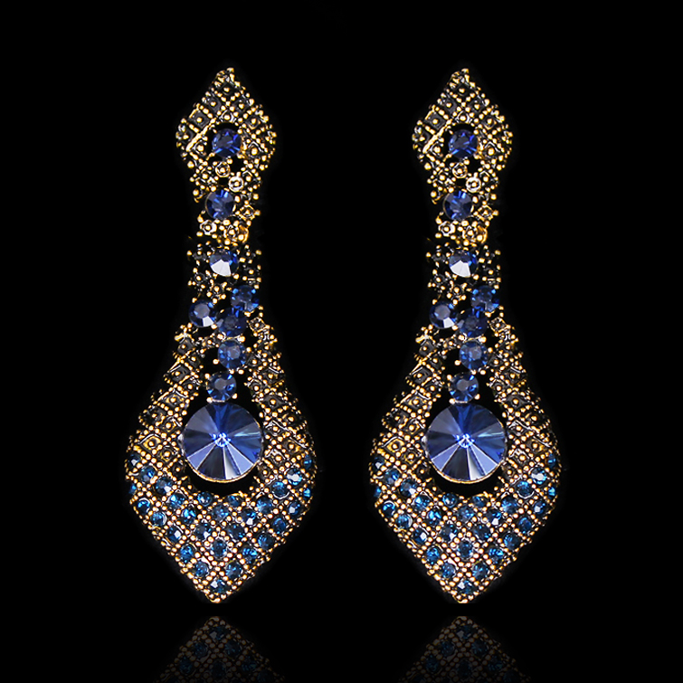 Vintage Big Crystal Statement Earrings For Women Bohemian Antique Gold Wedding Long Earings Fashion Jewelry 2018 Furniture