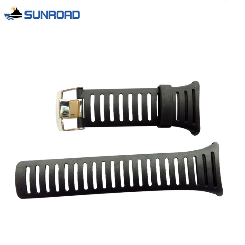 Original 25mm Black Silicone Rubber Watch Strap Waterproof Sports Watch Band For WristsWatch Sunroad FR802A FR720 Free Shipping