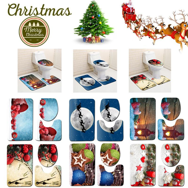 3Pcs/Set Christmas Bathroom Mat Carpet Toilet Rug Anti-Slip Bathroom Decoration