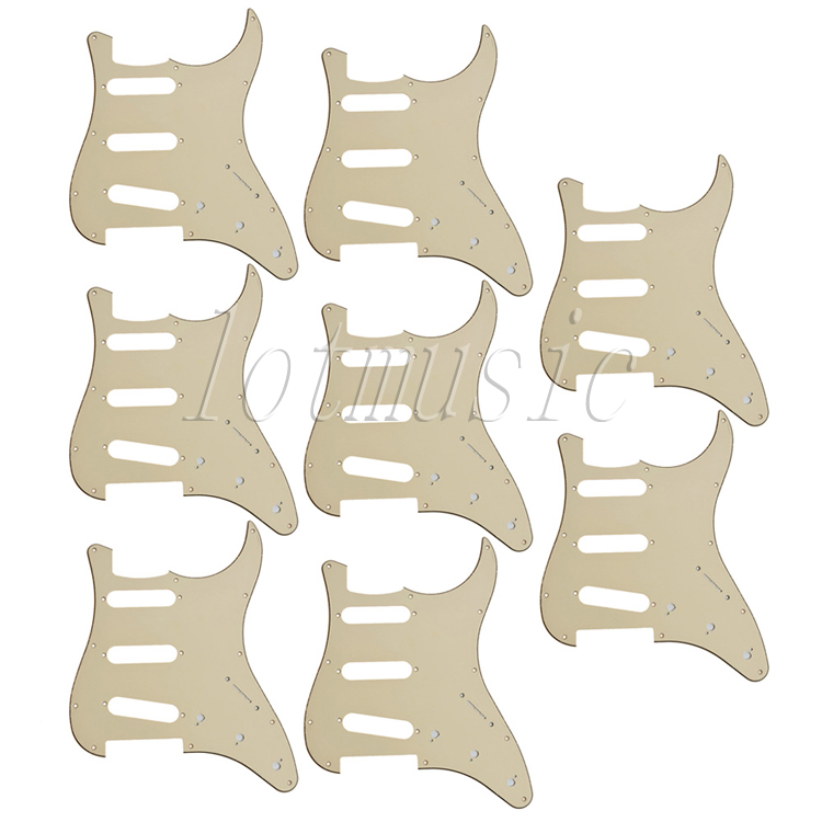8Pcs Beige 3-Ply 11 Hole SSS Pickguard for ElectricStrat Guitar Replacement 4pcs new mirror pickguard 11 hole sss for electric strat style guitar replacement