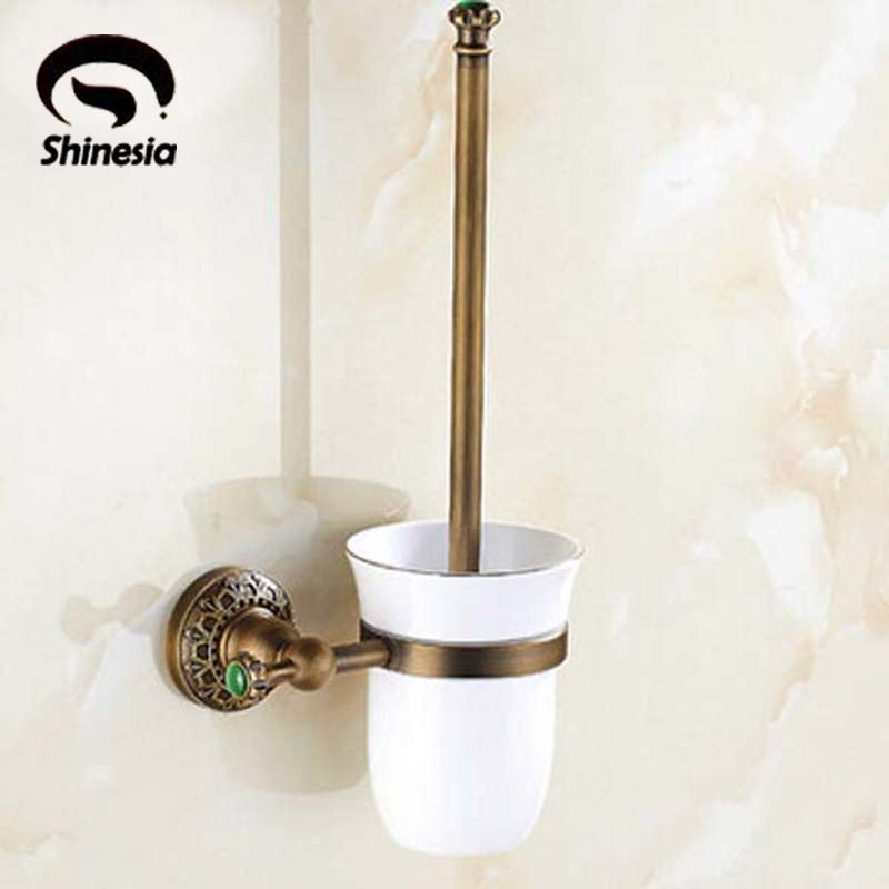 Antique Bronze Holder+ White Ceramic Cup + White Toilet Brush Wall Mounted bathroom toothbrush cup holder double ceramic cup solid brass cup holder oil rubbed bronze