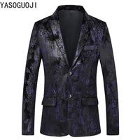 YASUGUOJI 2019 New Spring Fashion Flower Printed Suit Balzer Men Single Breasted Slim Blazer In Men Wedding Designer Jacket L030