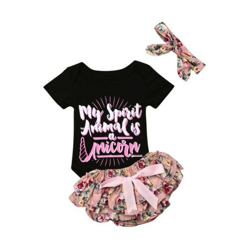 29341e63c207 Newborn Baby Girl Clothes Cotton Tops Romper Floral Shorts 3PCS Outfit  Summer Clothes Set 0-2T