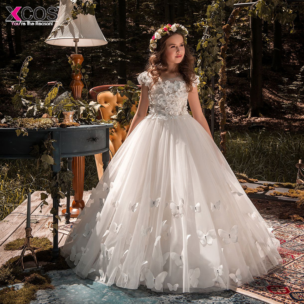 New   Flower     Girl's   Birthday Banquet 2019 Lace Ball Gown   Flower     Girl     Dresses   For Weddings First Communion   Dresses   For   Girls