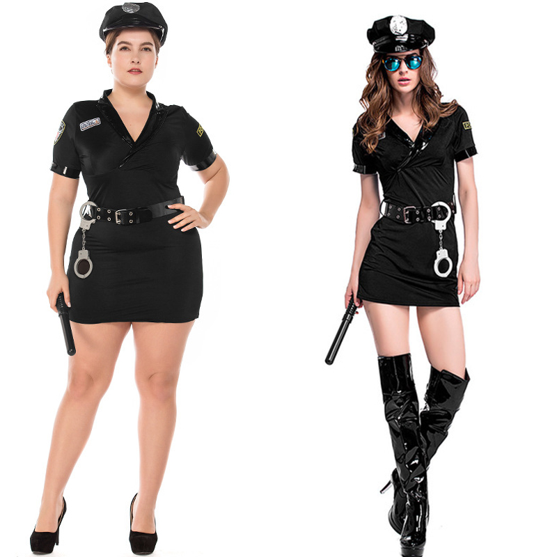 Plus Size Sexy Police Women Costume Halloween Policewoman Sexy Suit Policewomen Cosplay Adult Fancy Dress Outfits