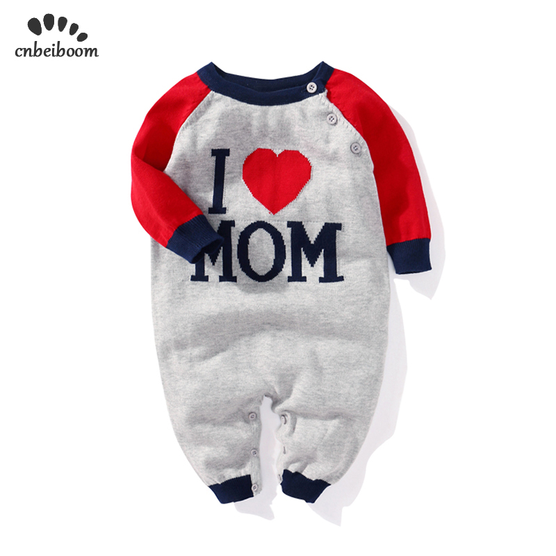 2019 New spring winter Boy baby knitted jumpsuit  i love MOM DAD Romper baby wool cotton Clothing for newborn toddler boys girls2019 New spring winter Boy baby knitted jumpsuit  i love MOM DAD Romper baby wool cotton Clothing for newborn toddler boys girls