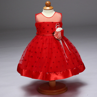 Retail Tulle Classic Style Dot Elegant Girls Birthday Party Dress Floral Girls Elegant Wedding Dress With