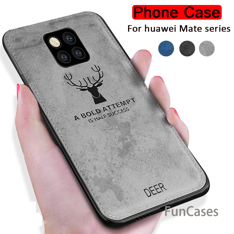 For Huawei <font><b>Mate</b></font> <font><b>20</b></font> Pro <font><b>Lite</b></font> X Case Cloth Texture 3D Embossing Deer Soft Bumper Fabric Cover for Huawei Mate20 20Pro Fundas <font><b>Capa</b></font> image