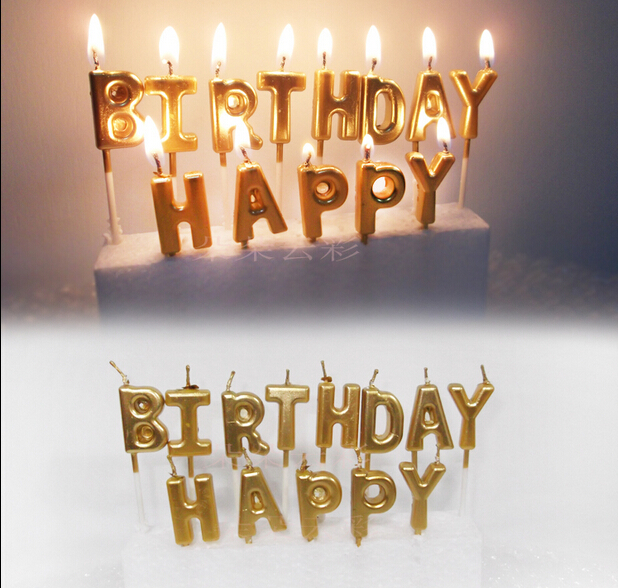 1 Set Gold Silver HAPPY BIRTHDAY Candle Cake Candles Kids Birthday Party Decoration