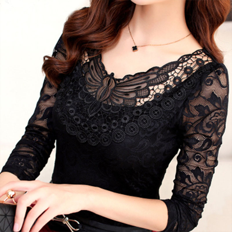 S-5XL Plus Size Spring Summer Fashion Women Elegant Black Lace   Blouse     Shirt   Long Sleeve Sexy Top Women Plus Size Clothing DF2313