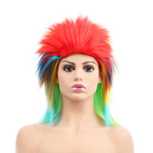 "Free Beauty 16"" Synthetic Rainbow Punk Rocker Crazy Spiky Fancy Funny Fluffy Wig for Girls Men Women Party Costume Halloween(China)"