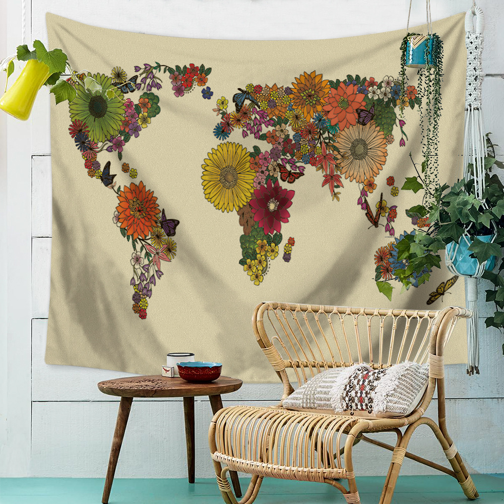 2018 Creative World Map Pattern Tapestry Wall Hanging